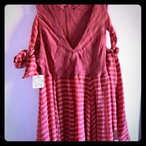 Free People Red Striped Shoulder Tie Dress Size XS